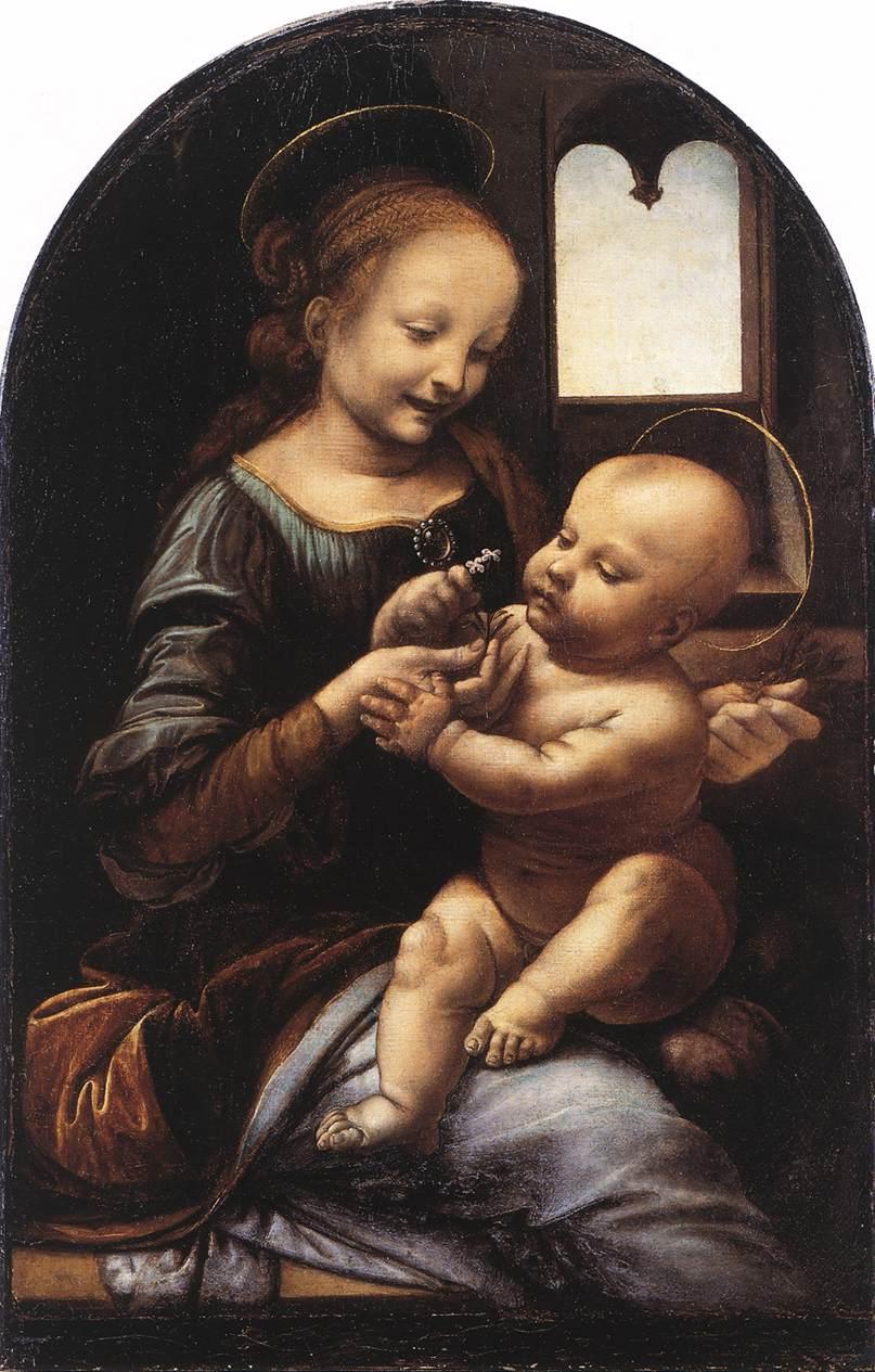 """Мадонна Бенуа"". (ок. 1478—1480) — ранняя картина Леонардо да Винчи. Собрание Государственного Эрмитажа"